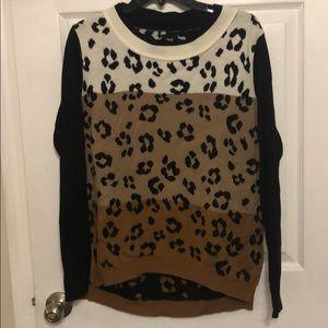 Hi-low leopard sweater